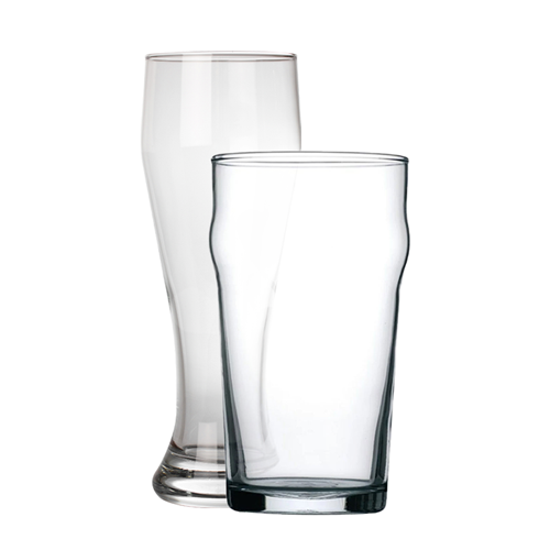 Tall and standard pint glasses