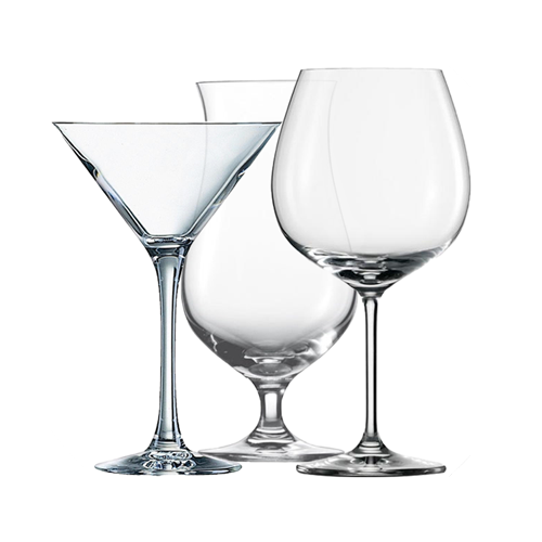 collection of cocktail and wine glasses