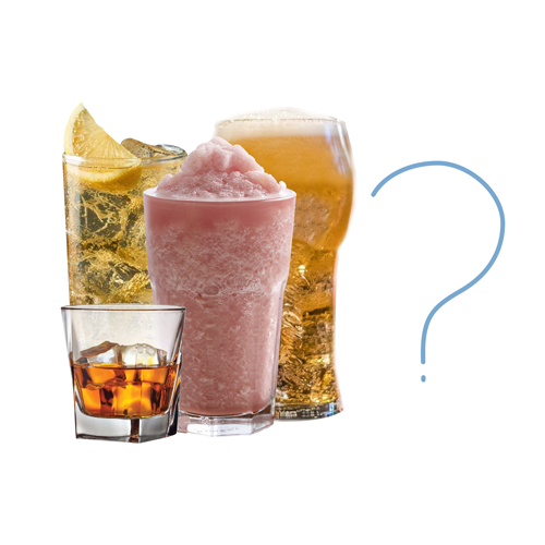 Various drinks with a question mark