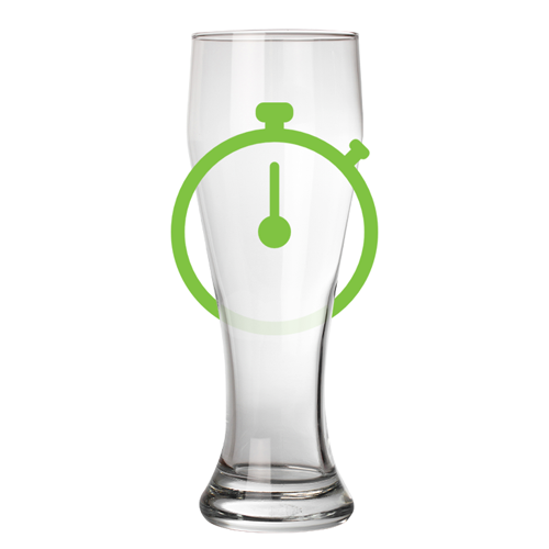 empty pint glass with stop watch icon