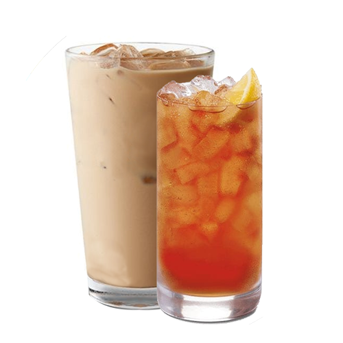 Glasses of iced tea and iced coffee