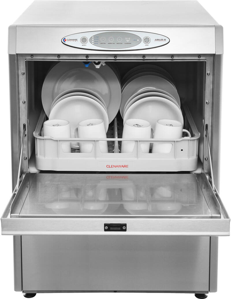 Jubilee Dishwasher from the front with the door open and a full dish rack