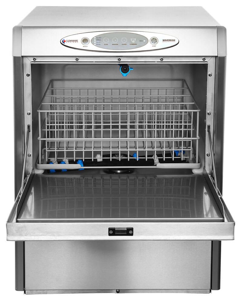 Sovereign Glasswasher from the front with door open with baskets